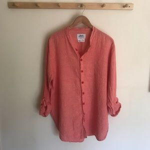 FLAX Linen Cotton Blend Blouse Buttons Long Small
